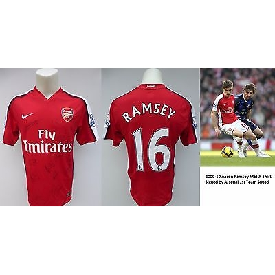 2009-10 Aaron Ramsey Match Isssued Squad Signed Arsenal Home Shirt, No.16 (5092)