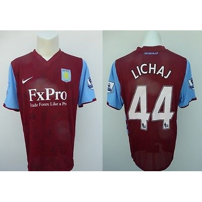 2010-11 Aston Villa Player Issue Squad Signed Home Shirt (6194)