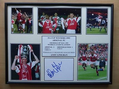 Arsenal 1993 FA Cup Winners Display Signed by Andy Linighan (7464)