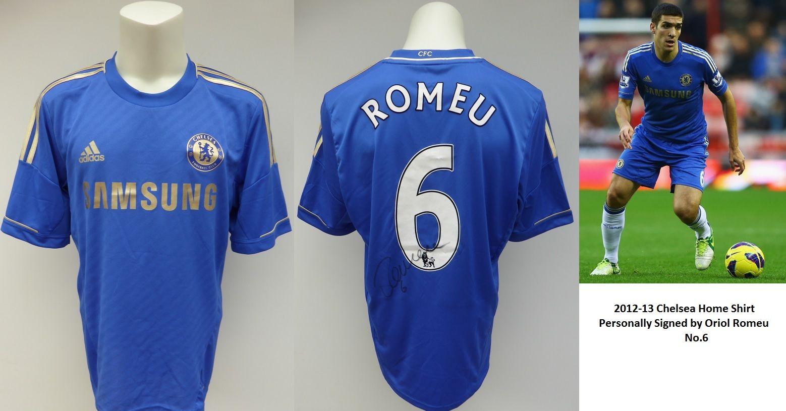 free shipping aaa8e f0e51 2012-13 Chelsea Home Shirt Signed by Oriol Romeu No.6 - Rare Shirt (10178)