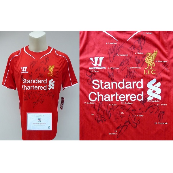 best website 5b3a5 341dd 2014-15 Liverpool Home Shirt Signed by 18 Official COA (6599)