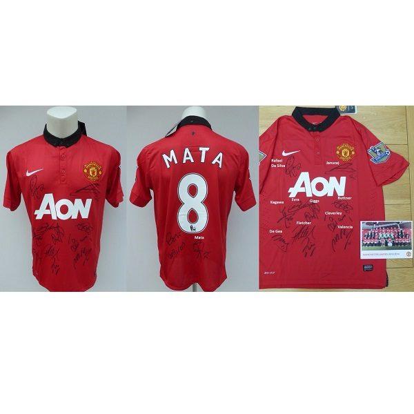 save off e2b1a 6af19 2013-14 Man Utd Home Shirt Signed by Squad inc. Giggs & De Gea Mata No.8  (4665)