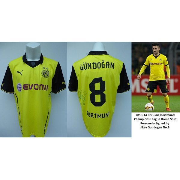 super popular 00dae 8662c 2013-14 Borussia Dortmund Champions League Shirt Signed by Gundogan No.8  (11117)