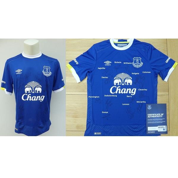 save off 4bc2a 2a4e9 2016-17 Everton Home Shirt Squad Signed inc, Davies & Coleman - Official  COA (11285)
