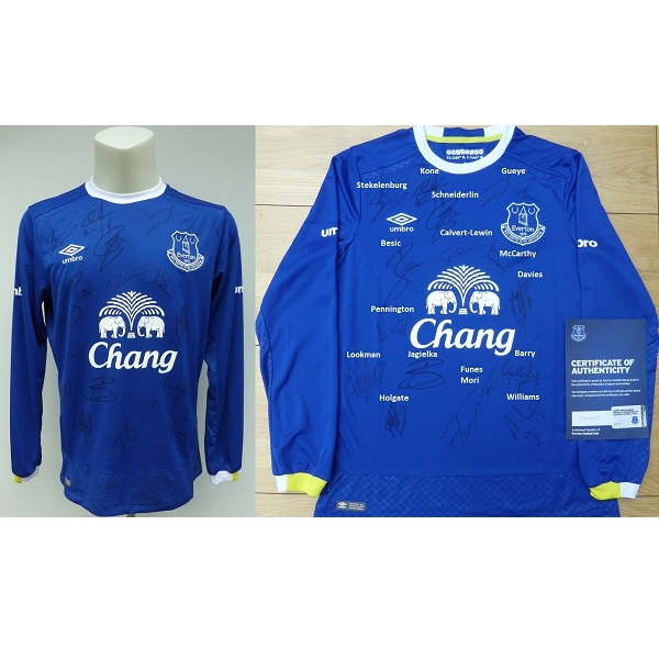 size 40 f1b79 7a1dd 2016-17 Everton Home Shirt Squad Signed inc. Lookman & Davies - Official  COA (11320)