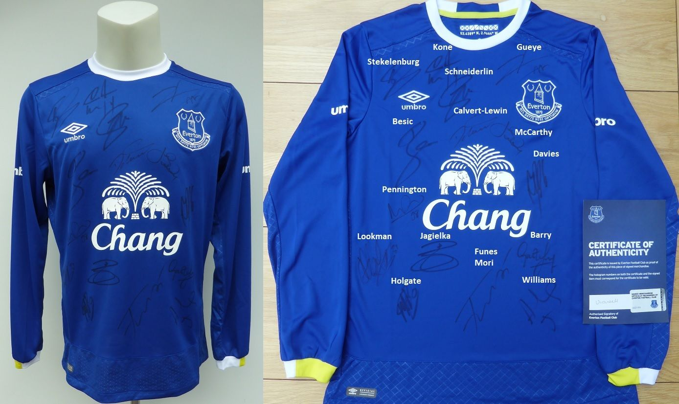 size 40 95954 434e5 2016-17 Everton Home Shirt Squad Signed inc. Lookman & Davies - Official  COA (11320)