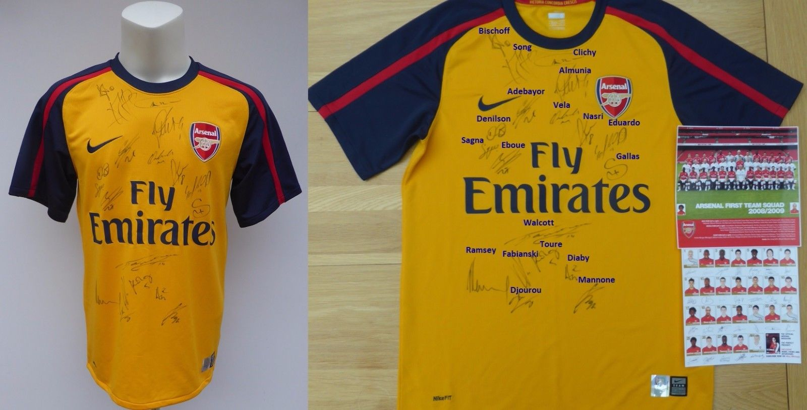 51be3d40b 2008-09 Arsenal Away Shirt Squad Signed inc. Ramsey