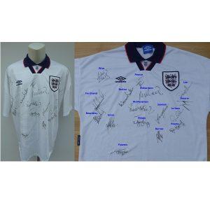268e2e709 1993-94 England Home Shirt Squad Signed inc. Shearer