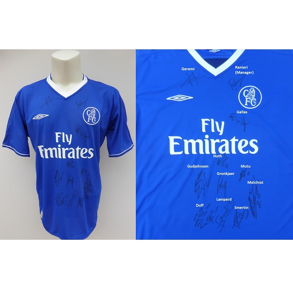 reputable site b60f2 739ae 2003-04 Chelsea Home Shirt Squad Signed inc. Lampard & Gudjohnsen (12246)