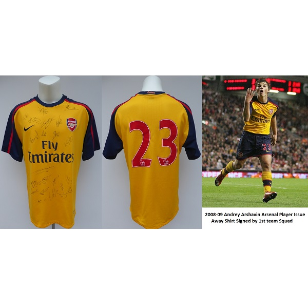 huge selection of b97a5 efcdb 2008-09 Andrey Arshavin Arsenal Player Issue Squad Signed Away Shirt (14245)