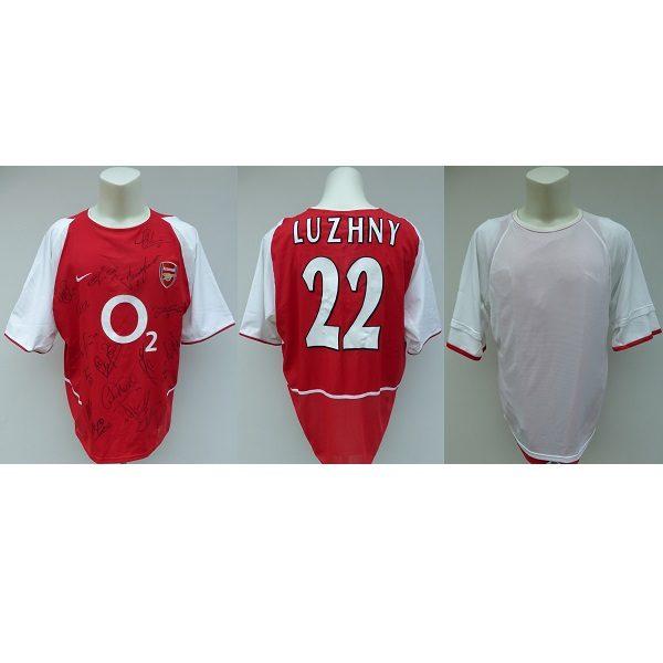 pretty nice 2dec1 294e2 2002-04 Oleg Luzhny Squad Signed Arsenal Match Shirt inc. Henry Bergkamp  (14358)