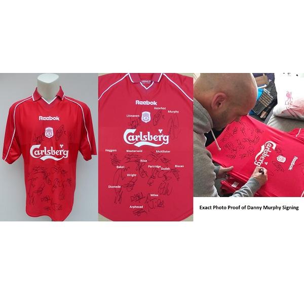 ce982d3c6 2001-02 Liverpool Home Shirt Squad Signed + COA ...