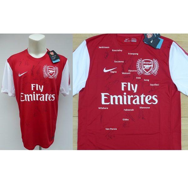 9a44a0b49aa 2011-12 Arsenal 125 Year Centenary Home Shirt Squad Signed COA   Map ...