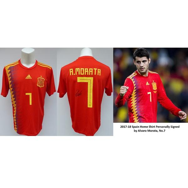 free shipping f224d 990df 2017-18 Spain Home Shirt Signed by Alvaro Morata No.7 Chelsea COA Proof  (14720)