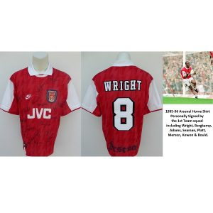 1995-96 Arsenal Home Shirt Squad Signed inc. Bergkamp 6679cbd0a