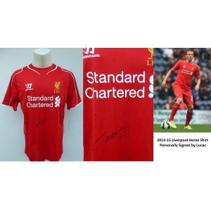 7bea2f8cb 2014-15 Liverpool Home Shirt Personally Signed by Lucas with COA (14814)