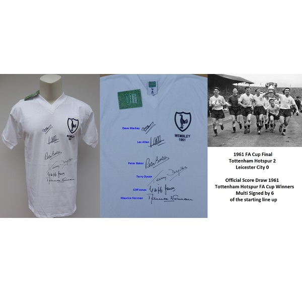 the latest 59c65 68f6e 1961 Tottenham Hotspur Multi Signed FA Cup Winners Shirt inc. Mackay COA  (15331)