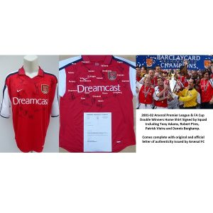 2001-02 Arsenal Double Winners Home Shirt Squad Signed Bergkamp Pires  (15282) 5d7f16736
