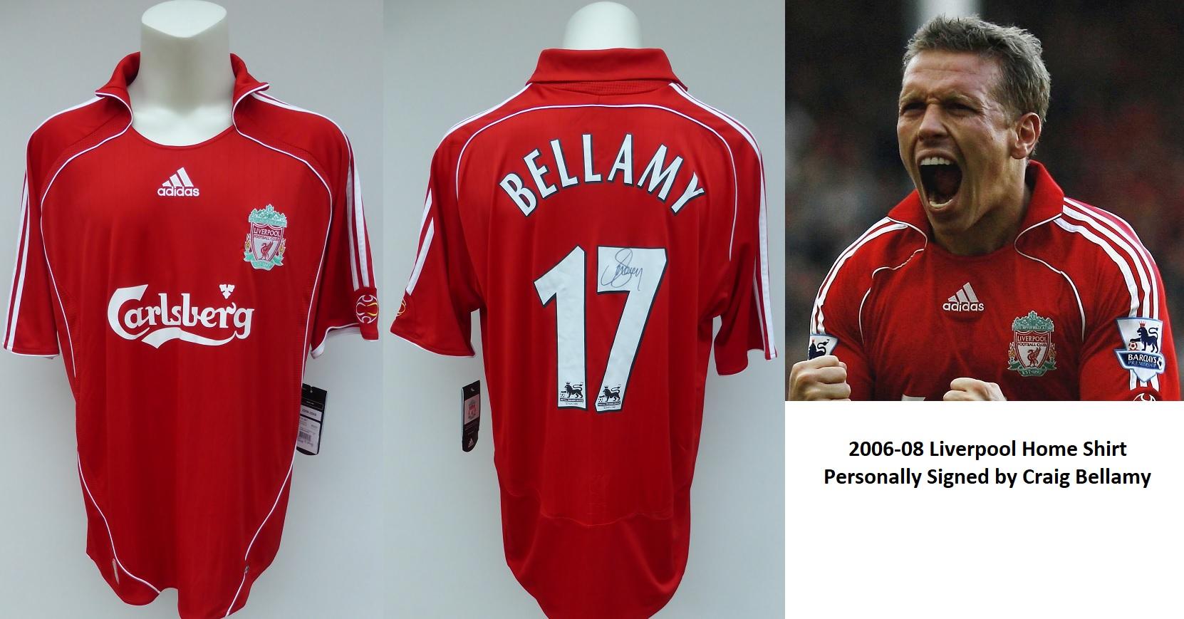 92fb6a08c 2006-08 Liverpool Home Shirt Signed by Craig Bellamy No.17 with COA ...