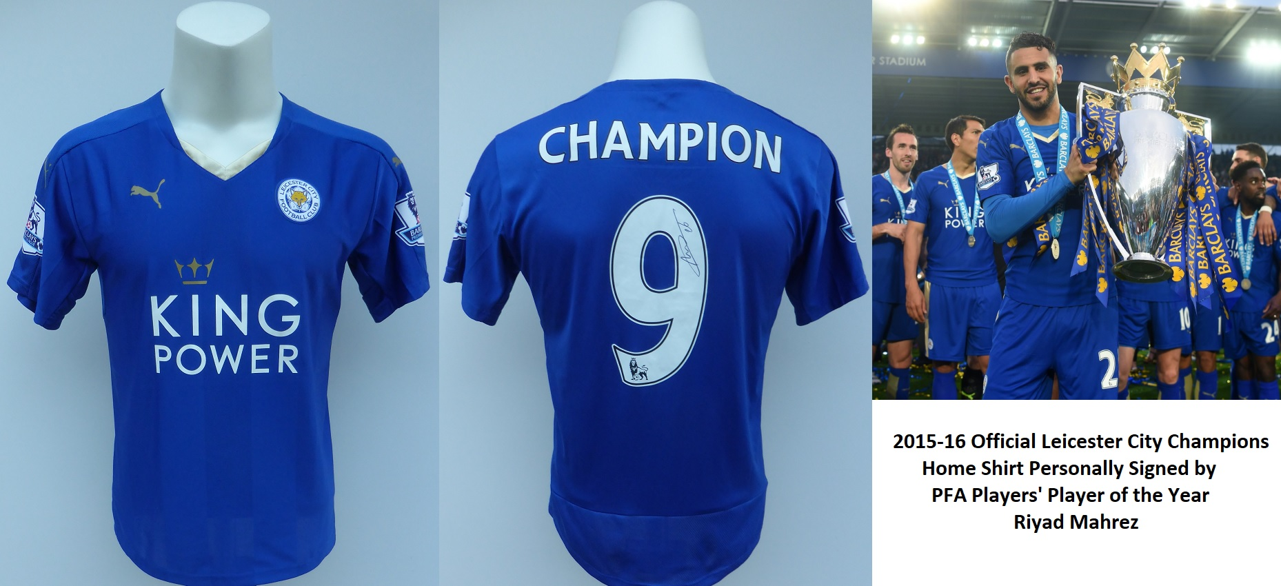 timeless design d68b2 8246d 2015-16 Leicester City Champions Home Shirt Signed by Riyad Mahrez COA  (15286)