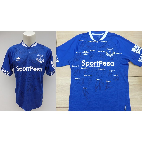 outlet store 21cce db2b4 2018-19 Everton Home Shirt Squad Signed inc. Pickford & Sigurdsson COA  (15557)