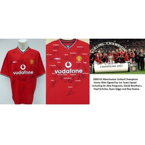 01a1dedd7 2000-01 Man Utd Champions Home Shirt Squad Signed inc. Ferguson, Beckham &  Giggs (15694). Original and official Umbro ...
